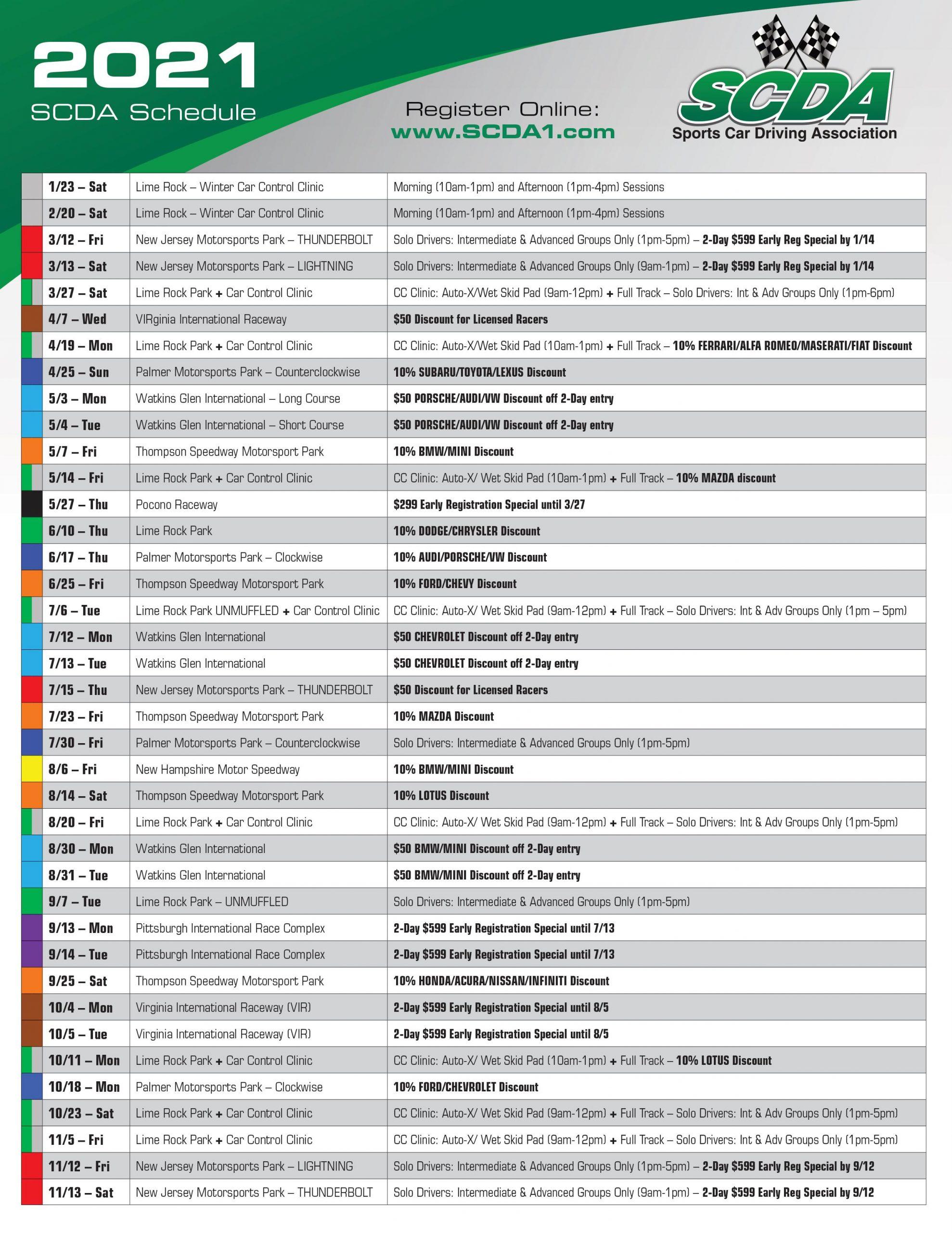 2021 SCDA Schedule